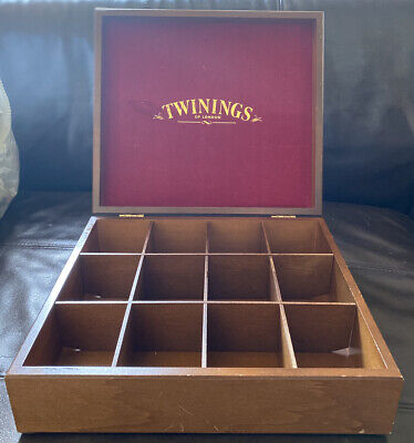 Twinnings Wooden Tea Box - 12 Compartments- Red Lid Interior • 35£