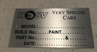 AU40 • Buy Hsv Build Tag Plate Vr Vs Vt Ss Gts Maloo Clubsport Commodore