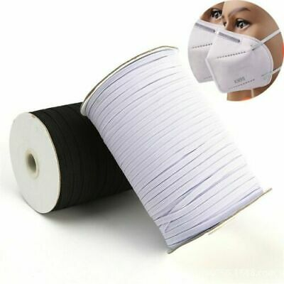 3mm 5mm 6mm Flat Elastic Cord For Face Masks Sewing Crafts Tailoring White Black • 3.99£