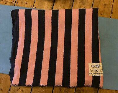 Large Jack Wills Pink And Navy Blue Blanket Throw • 35£