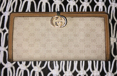 $100 • Buy Vintage Gucci Long Wallet Micro GG Beige Canvas / Leather