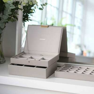 AU49.95 • Buy Stacker Leather Jewellery Box Stackable Tray Taupe