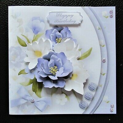 Handcrafted 3d  Birthday Card Topper Lilac & Cream Floral Shaped Front • 1.65£