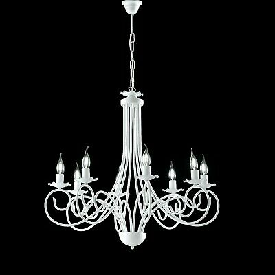Hanging Chandelier White Shabby Wrought Iron Candles 3 5 8 Lights • 152.57£
