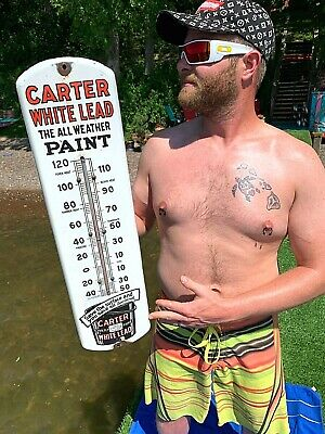 $ CDN602.24 • Buy Vintage Porcelain Carter White Lead Paint Thermometer Sign General Hardware 27X7