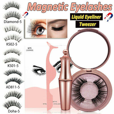 AU14.99 • Buy Magnetic Eyelashes False Eye Lashes Extension Liquid Eyeliner And Tweezer NEW