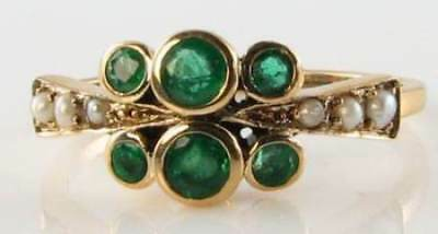 Class 9ct 9k Gold Colombian Emerald & Pearl Art Deco Ins Eternity Ring Free Size • 239£
