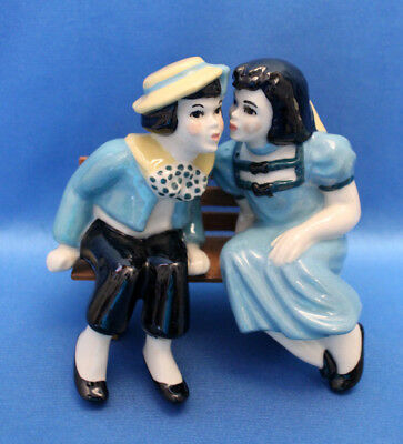 $24.50 • Buy Vtg CERAMIC ARTS STUDIO Madison Wis.YOUNG LOVE Bench Sitter Boy,Girl Couple Blue