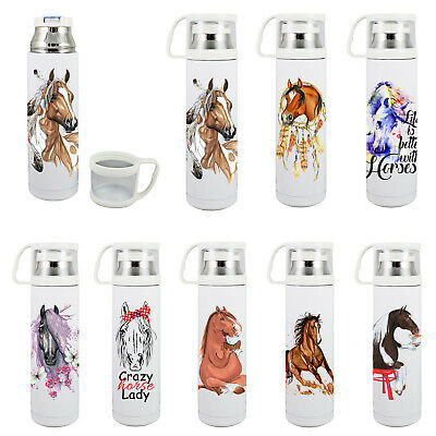 AU29.95 • Buy Thermos Flask Drink Travel Bottle 500ml With Cup 8 Horse Images To Choose New