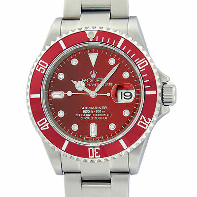 $ CDN14354.55 • Buy Rolex Mens Stainless Steel Oyster Submariner Watch With Red Diamond Dial 16610