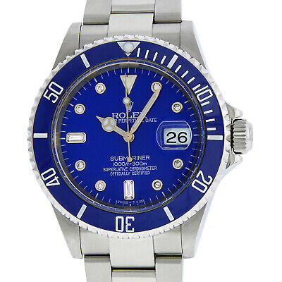 $ CDN14532.46 • Buy Rolex Mens Stainless Steel Oyster Submariner Watch With Blue Diamond Dial 16610