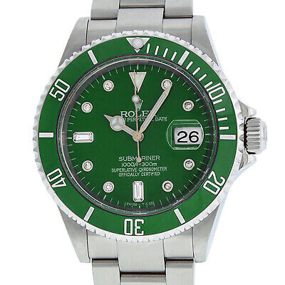 $ CDN12465.15 • Buy Rolex Mens Stainless Steel Oyster Submariner Watch With Green Diamond Dial 16610