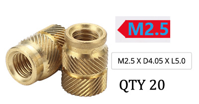 $6.99 • Buy (Count 20) M2.5 X D4.05 X L5.0 Threaded Heat Insert For 3D Printing (long)