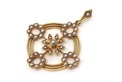 A Fine Clean Antique Edwardian 15ct 625 Yellow Gold Seed Pearl Pendant #23107 • 375£