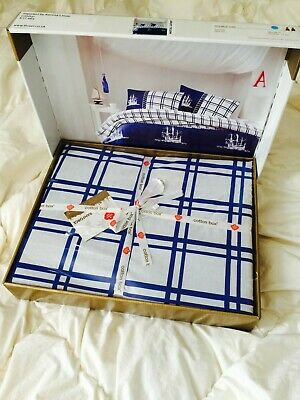 100% Cotton Duvet Cover Bedding Set In Carton Box Perfect For Present Nautical • 27.99£