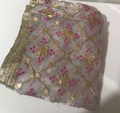 Indian Embroiderd Organza Stole Dupatta With Golden Border • 19£