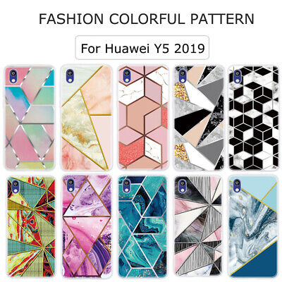 For Huawei Y5 Y6 Y7 2019/2018 P Smart 2019 Geometric Marble Soft TPU Case Cover • 3.49£