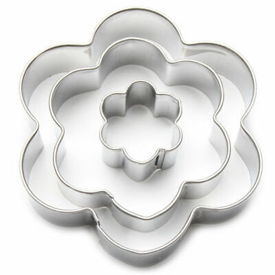 Cookie Cutter Set (3 Pcs) Flower Shapes Floral Hippy Cake Decorating Biscuits • 3.20£