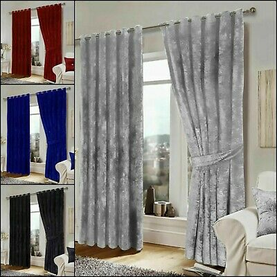 Super Soft Crushed Velvet Eyelet Ring Top Ready Made Fully Lined  Pair Curtain • 51.14£