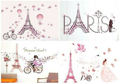 Pink Paris Eiffel Tower Flower Butterfly Girl Wall Stickers For Room Decoration • 7.99£