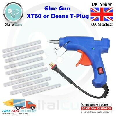 Hot Glue Gun 12V Battery 3S Lipo Powered XT60 Deans T-Plug + Glue Sticks • 10.55£