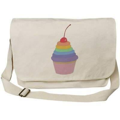 'Rainbow Cupcake' Cotton Canvas Messenger Bags (MS026596) • 11.99£