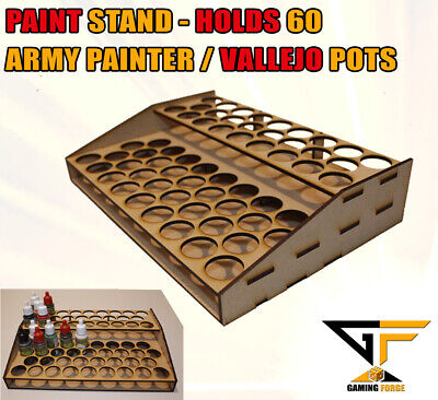 Paint Stand Station Rack For Army Painter & Vallejo Paints Holds 60 Pots (ANGLE) • 10.50£