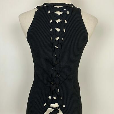 AU35 • Buy Zara Women's Lace-up Back Stretch Black Top Size S ~ Free AU Post!