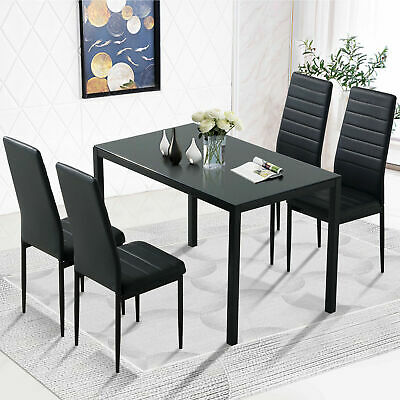 $299.99 • Buy Black 5PC Kitchen Dining Table Set Glass Metal Dinette 4 Leather Chair Breakfast