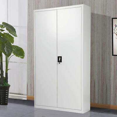 180cm Office Storage Lockable Cupboard Filing Cabinet Steel Metal Light Grey Key • 145.99£