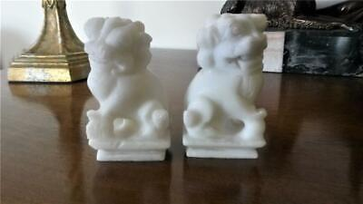 Antique Pair White Soapstone Chinese Temple Gaurdian Foo Dogs • 55£
