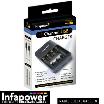 INFAPOWER BATTERY CHARGER + Rechargeable Batteries AA AAA C D 9V  Pre-Charged  • 8.99£