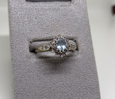 9ct Gold & Diamond Ring With Blue Stone - Size L - Weight - 2.2g • 60£