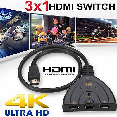 HDMI Switch Hub Splitter Adapter 4K 3 In 1 Multi 1080P Display Auto Cable HD TV • 4.99£