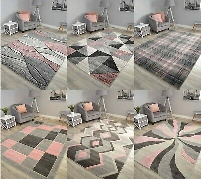 New Blush Pink Grey Good Quality Floor Carpet Mats Rugs Long Hall Runners Cheap • 21.99£