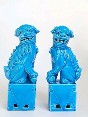 Antique Pair Of 21cm Turquoise Blue Porcelain Chinese Foo Dogs • 134.99£