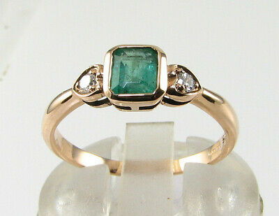 £319 • Buy Dainty 9k 9ct Rose Gold Colombian Emerald Diamond Art Deco Ins Ring Free Resize