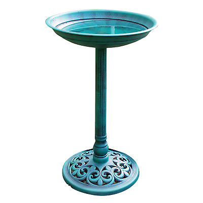 Outdoor Patio Garden Bird Bath Traditional Ornament Pedestal Birds Water Bowl UK • 16.95£