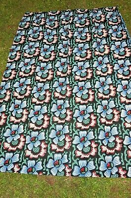 Vintage 60s 70s Hand Printed Floral Cotton Fabric Length / Curtain   • 19.99£