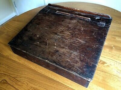 Antique Wooden Writing Slope School Lap Desk Ink Well Hinged Top 1940's Vintage  • 19.95£