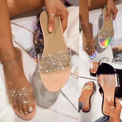 Womens Slip On Sliders Slippers Ladies Diamante Clear Studs Summer Sandals Shoes • 6.89£