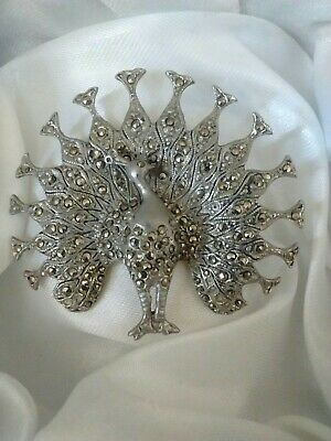 Vintage Sparkly Marcasite Peacock Peafowl Fanned Feather Bird Animal Brooch Pin • 19.99£