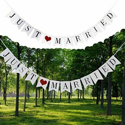 Just Married Wedding Bunting Banners Card Photo Prop - Wedding Decoration • 3.49£