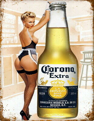 Corona Extra Beer Pin Up Advert Retro Vintage Metal Bar Pub Shed MAN CAVE SIGN • 4.99£
