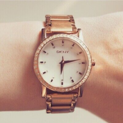Dkny Women's Soho Watch Ny8121 Rose Gold Stainless Steel Crystals Genuine • 40£