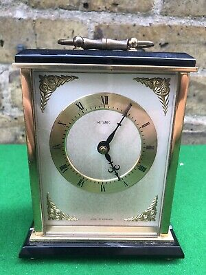 Vintage Metamek Carriage Clock Finished In Brass And Faux Onyx (L) • 20£
