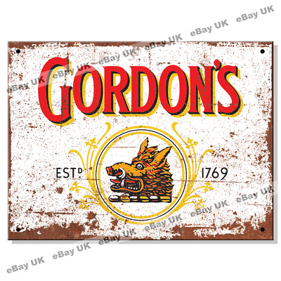 Metal Signs - GORDONS GIN LOGO Retro Wall Plaque Kitchen Man Cave Tin Sign UK • 6.95£