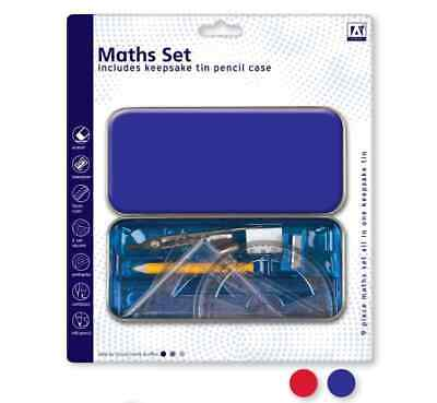 £2.50 • Buy 10 Pcs Maths Geometry Compass Set School Ruler Protector Square Tin Case Stencil