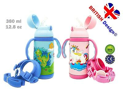 £13.99 • Buy Kids Water Bottle Flask Straw Insulated Leak Proof BPA Free Compact Handle Strap
