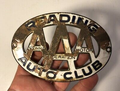 $ CDN20.37 • Buy Vintage Porcelain License Plate Topper AAA PA Federation Motor Auto Club Reading
